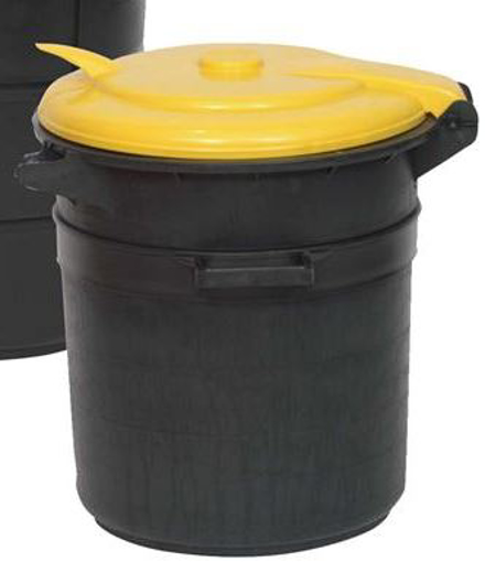 פח אשפה 80 ליטר מכסה צהוב